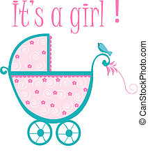 Baby crib card to welcome to new baby girl