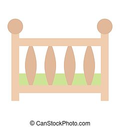 Baby crib flat icon, baby cot and bed, vector graphics, a colorful solid pattern on a white background, eps 10.