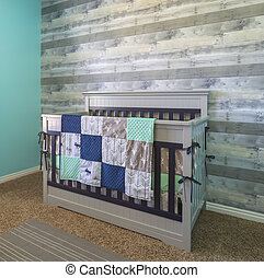 Baby crib for new born in a modern bedroom