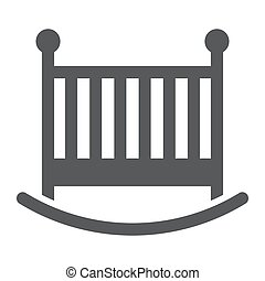 Baby crib glyph icon, child and bed, cot sign, vector graphics, a solid pattern on a white background, eps 10.