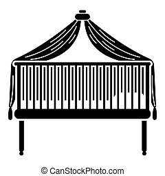 Baby crib icon, simple style
