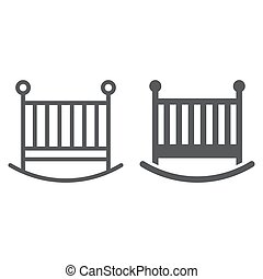 Baby crib line and glyph icon, child and bed, cot sign, vector graphics, a linear pattern on a white background, eps 10.