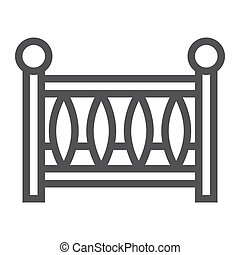 Baby crib line icon, baby cot and bed, vector graphics, a linear pattern on a white background, eps 10.