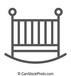 Baby crib line icon, child and bed, cot sign, vector graphics, a linear pattern on a white background, eps 10.