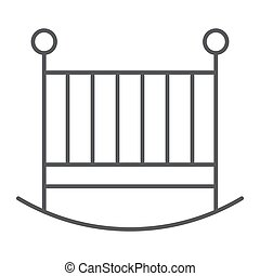Baby crib thin line icon, child and bed, cot sign, vector graphics, a linear pattern on a white background, eps 10.