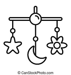 Baby crib toy icon, outline style