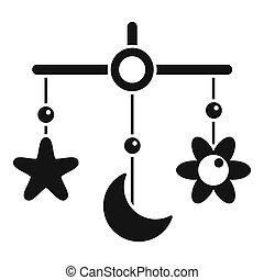 Baby crib toy icon, simple style