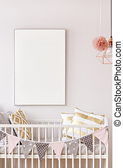 Baby crib with white poster mockup