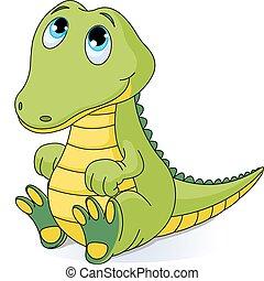 Illustration of very cute baby crocodile