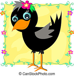 Baby Crow in a Flower Frame - Here is a cute Black Crow with...