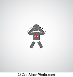 baby cry symbol on gray background