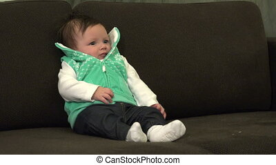 Baby Crying on Couch - A closeup of a 4 month old baby...