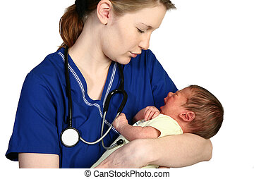 Baby Crying - Female nurse consoling a crying newborn baby...