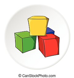 Baby cubes icon, cartoon style