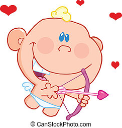Baby Cupid With Bow And Arrow