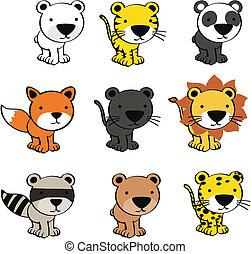 baby cute animals cartoon set