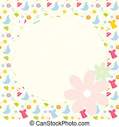 Baby cute background with dresses, birds and flowers