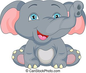 baby, cute, cartoon, elefant