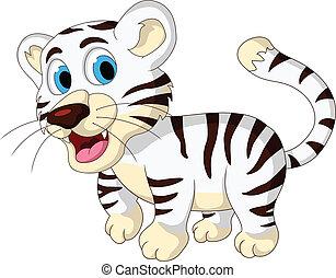 baby, cute, hvid tiger, gå