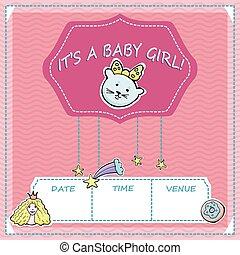 baby, cute, liden, card., girl., tekst, hils, brusebad, stars., vektor, regnbue, det er, killingen, prinsesse, stickers., komet