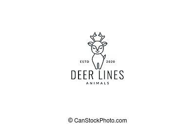 baby deer line walk cute cartoon logo vector  illustration