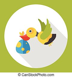 Baby Delivery Stork flat icon
