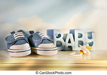 Baby denim shoes - Little baby denim running shoes with...