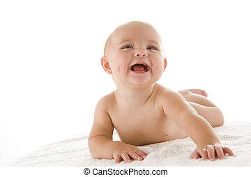 baby, derned, smil, liggende