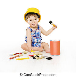 Baby Designer Painting Color Brush, Child Boy Sitting with Paints Brushes on Floor, Kid Isolated over White Background