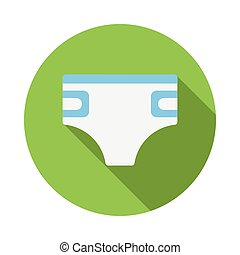 Baby diaper icon, flat style - Baby diaper icon in flat...