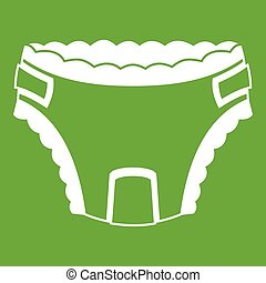 Baby diaper icon green - Baby diaper icon white isolated on...