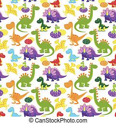 baby dinosaurs pattern - vector baby dinosaurs seamless...