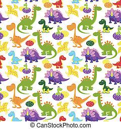 baby dinosaurs pattern - vector baby dinosaurs seamless...
