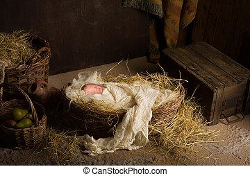 Baby doll in nativity scene