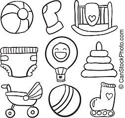 baby, doodle, set, speelgoed