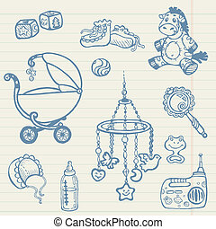 Baby doodles - Hand drawn collection in vector