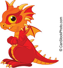 Baby dragon - Illustration of cute cartoon baby dragon