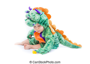 Baby Dragon Costume - Purple, orange and green dragon...