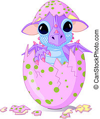 Cute baby dragon hatched from one egg