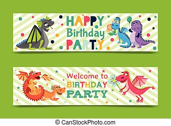 Baby dragons banners, invitation card vector illustration . Cartoon funny dragons with wings. Fairy dinosaurs with flower and baloon. Welcome to birthday party. Dragon breathing fire.