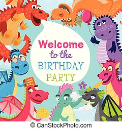 Baby dragons pattern vector illustration for invitation cards. Cartoon funny dragons with wings. Fairy dinosaurs with pop corn, baloon, flower, book. Welcome to the birthday party.