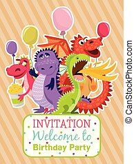 Baby dragons poster, invitation card vector illustration . Cartoon funny dragons with wings. Fairy dinosaurs with pop corn and baloons. Welcome to birthday party. Dragon breathing fire.