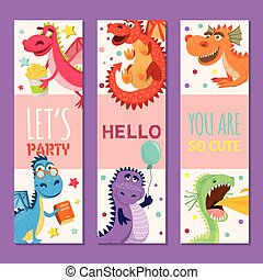 Baby dragons set of birthday or invitation banners vector illustration. Cartoon funny little sitting dragons with wings. Fairy dinosaurs with cake, baloon, flower. Make a wish, hooray.