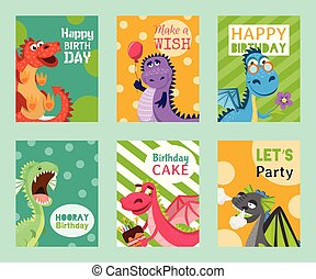 Baby dragons set of birthday or invitation cards or banners vector illustration. Cartoon funny little sitting dragons with wings. Fairy dinosaurs with cake, baloon, flower. Make a wish, hooray.