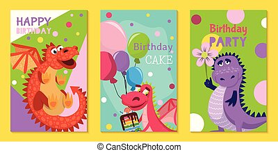 Baby dragons set of birthday or invitation cards or posters vector illustration. Cartoon funny little dragons with wings. Fairy dinosaurs with cake, baloons, flower. Party.