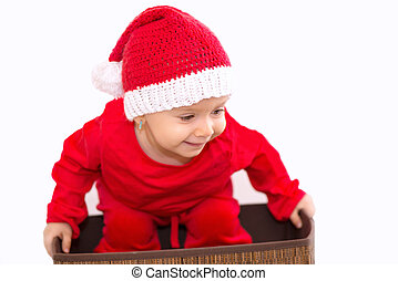 BABY DREESED IN CHRISTMAS COSTUME