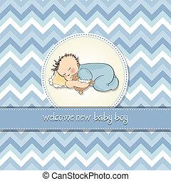baby dreng, brusebad, card