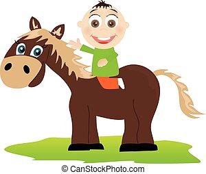 baby dreng, ride, på, den, hest
