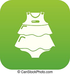 Baby dress icon green vector
