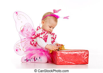 Baby dressed as a butterfly